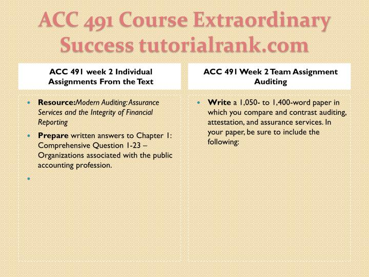 ACC 491 week 2 Individual Assignments From the Text