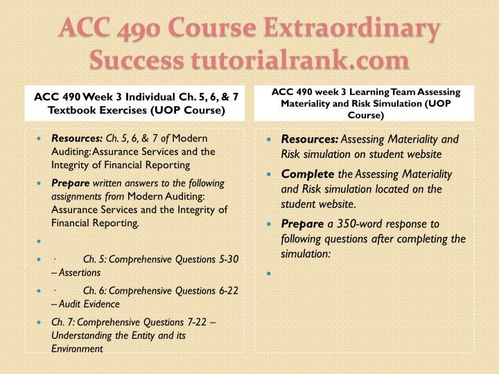ACC 490 Week 3 Individual Ch. 5, 6, & 7 Textbook Exercises (UOP Course)