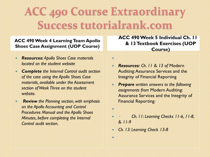 ACC 490 Week 4 Learning Team Apollo Shoes Case Assignment (UOP Course)