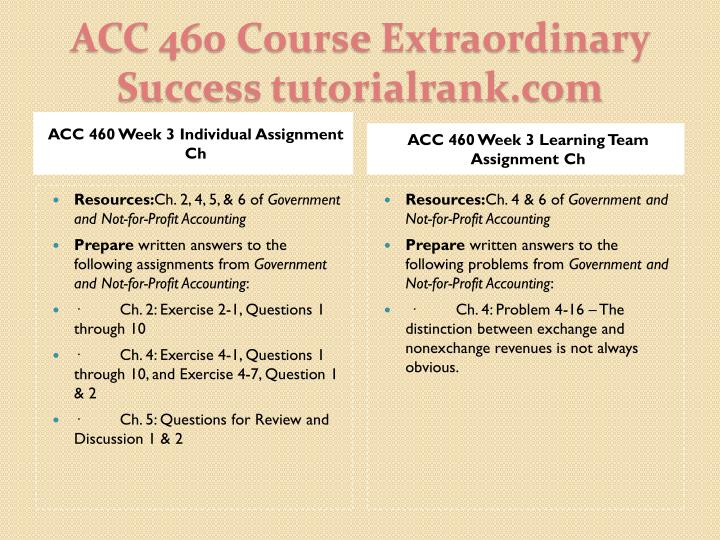ACC 460 Week 3 Individual Assignment Ch