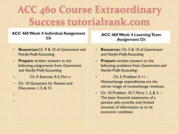 ACC 460 Week 4 Individual Assignment Ch