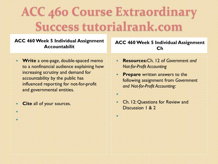 ACC 460 Week 5 Individual Assignment Accountabilit