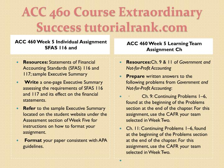 ACC 460 Week 5 Individual Assignment SFAS 116 and