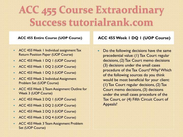 Acc 455 course extraordinary success tutorialrank com1