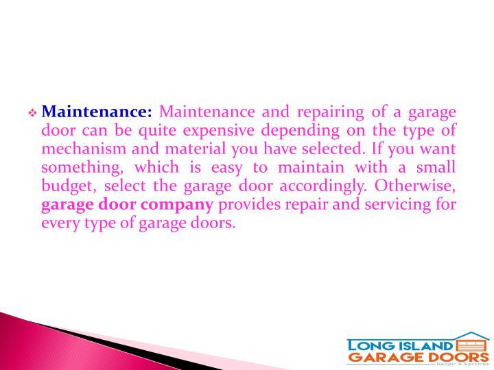 Maintenance: