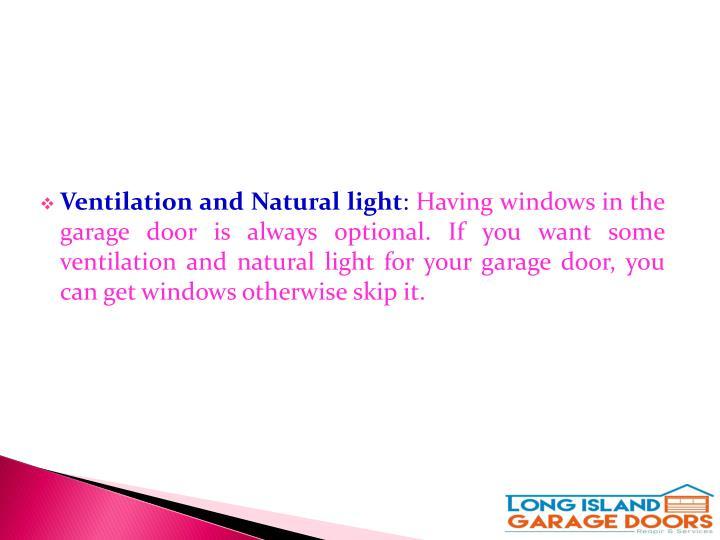 Ventilation and Natural light