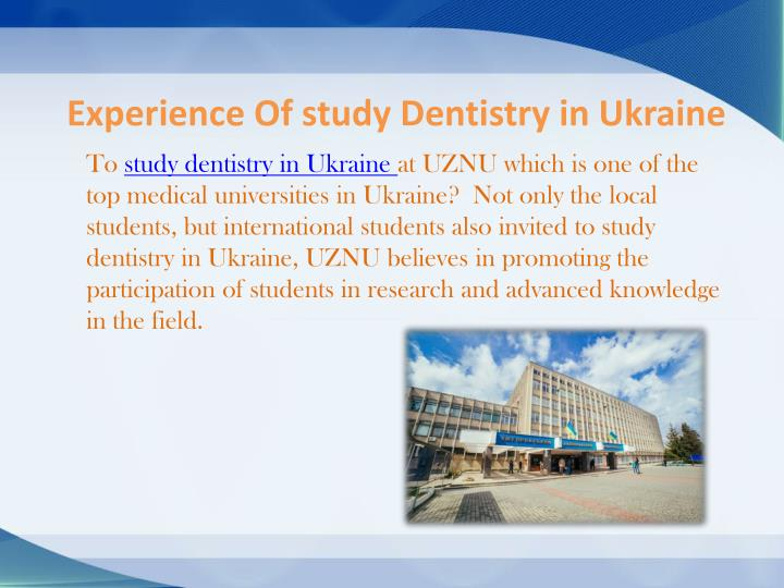 Experience Of study Dentistry in Ukraine