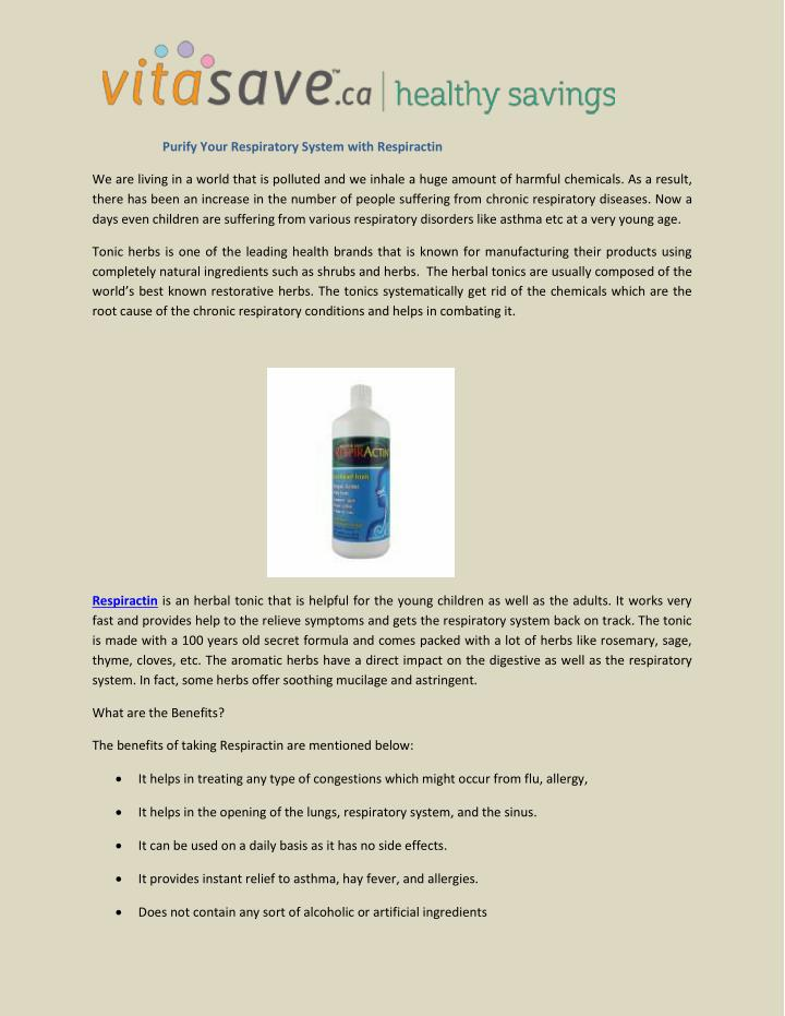 Purify Your Respiratory System with Respiractin