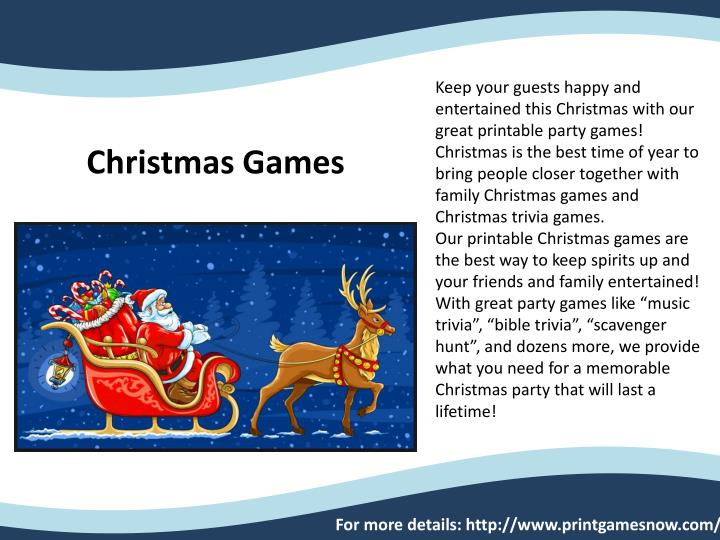 Keep your guests happy and entertained this Christmas with our great printable party games! Christma...