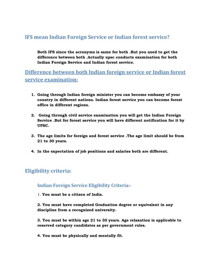 IFS mean Indian Foreign Service or Indian forest service?