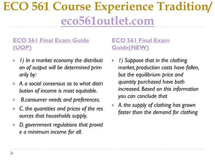 Eco 561 course experience tradition eco561outlet com1