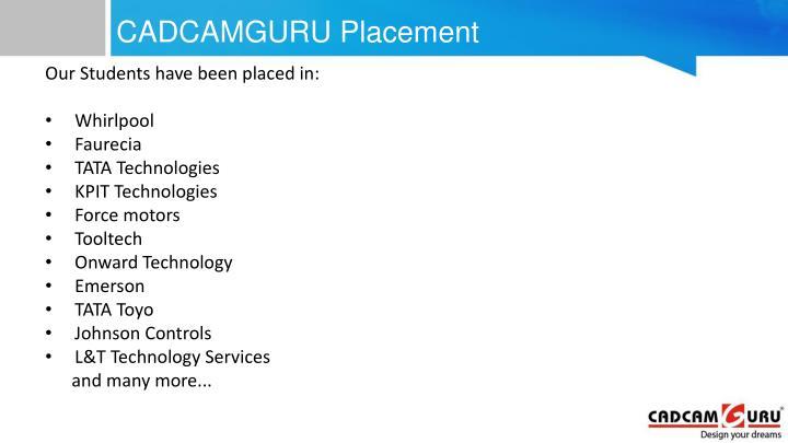 CADCAMGURU Placement