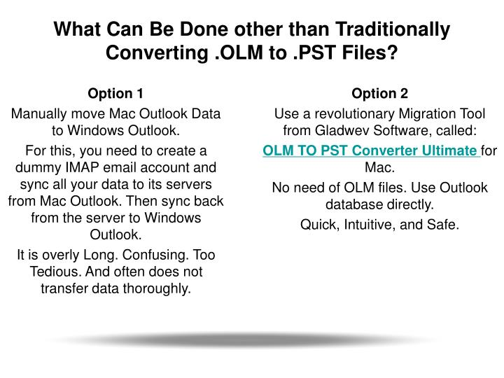 What can be done other than traditionally converting olm to pst files