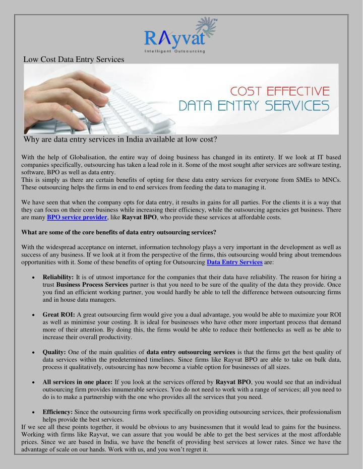 Low Cost Data Entry Services
