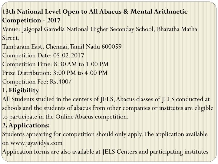 13th National Level Open to All Abacus & Mental Arithmetic Competition - 2017