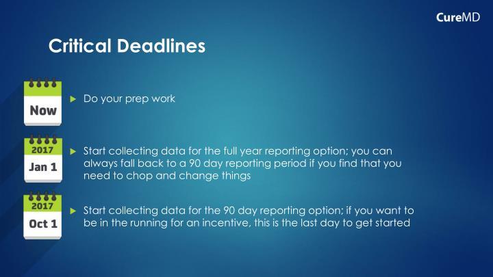 Critical Deadlines