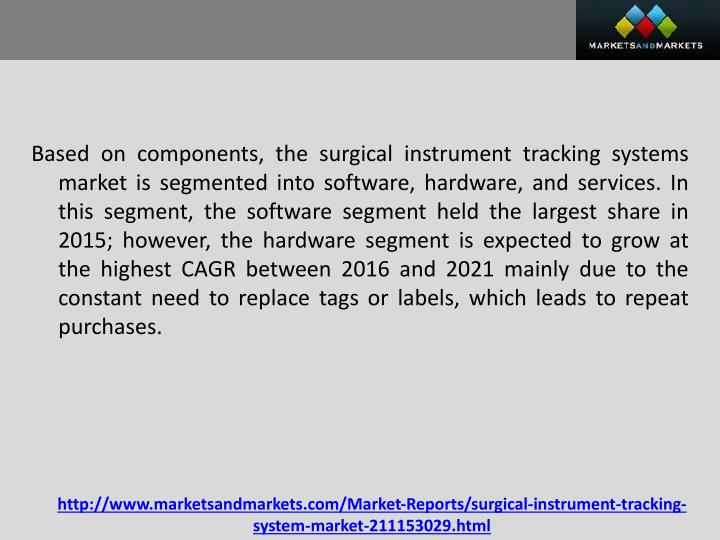 Based on components, the surgical instrument tracking systems market is segmented into software, hardware, and services. In this segment, the software segment held the largest share in 2015; however, the hardware segment is expected to grow at the highest CAGR between 2016 and 2021 mainly due to the constant need to replace tags or labels, which leads to repeat purchases.