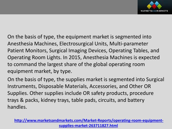 On the basis of type, the equipment market is segmented into