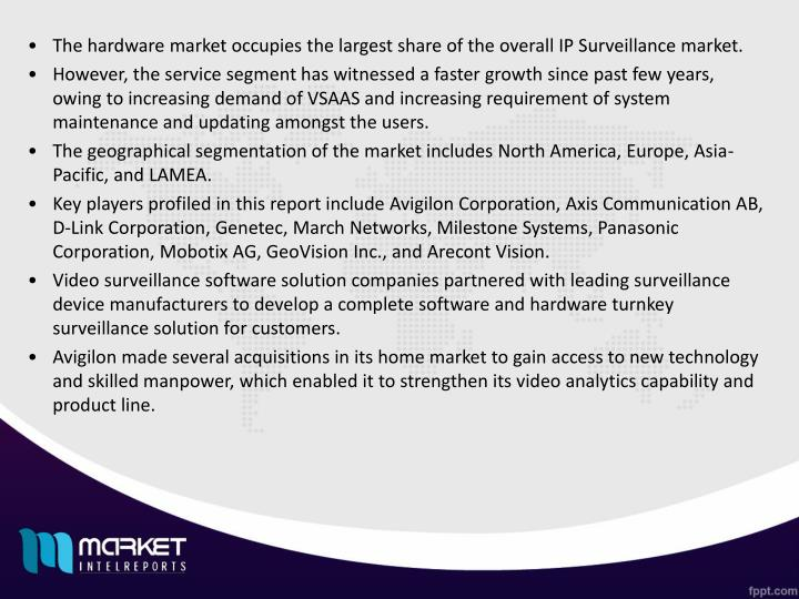 The hardware market occupies the largest share of the overall IP Surveillance market.
