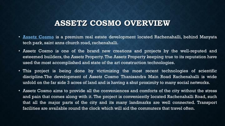 Assetz cosmo overview
