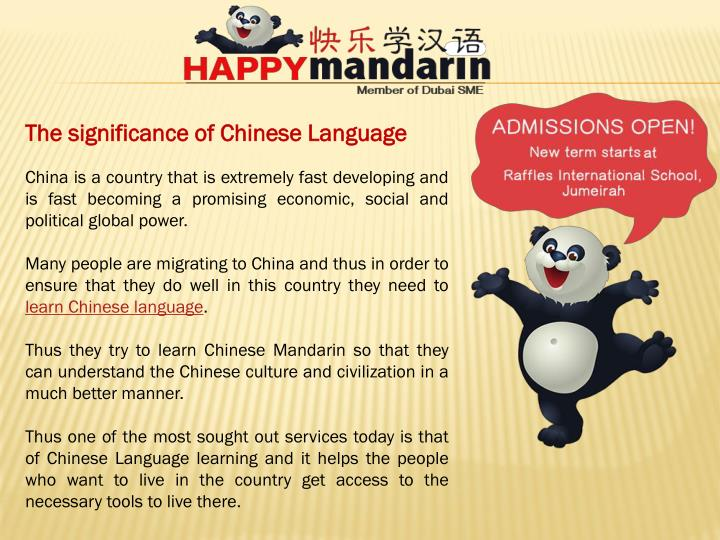 The significance of Chinese Language