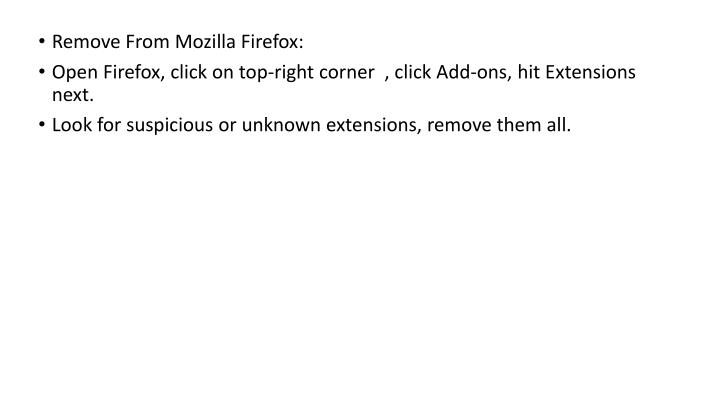 Remove From Mozilla Firefox: