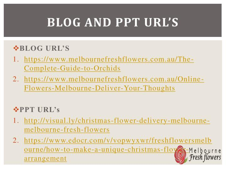 Blog and ppt url's