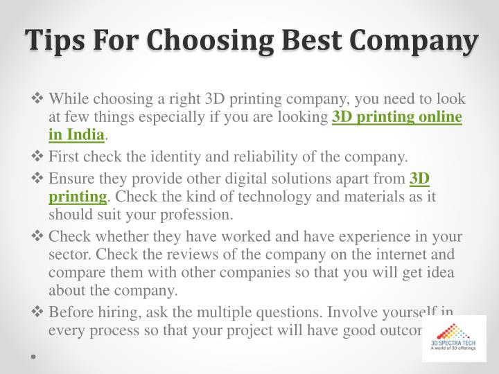 Tips For Choosing Best Company