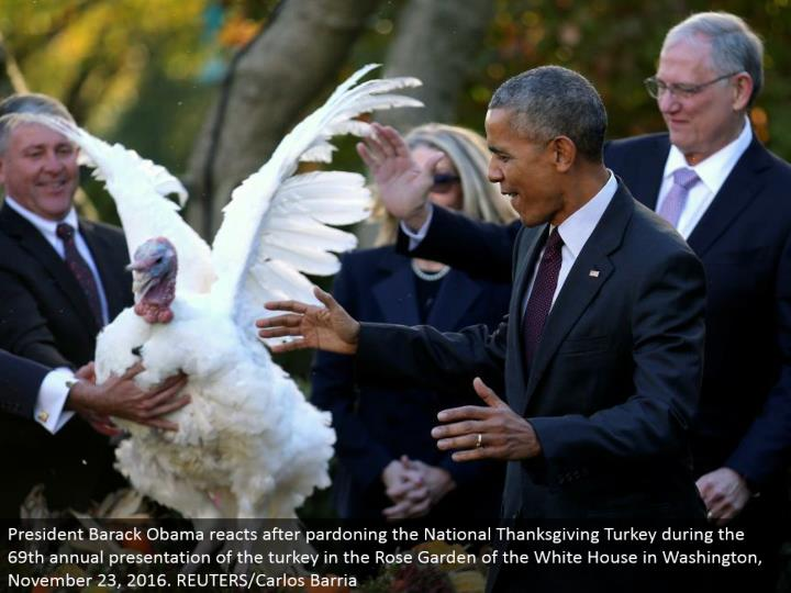 President Barack Obama responds in the wake of exonerating the National Thanksgiving Turkey amid the 69th yearly presentation of the turkey in the Rose Garden of the White House in Washington, November 23, 2016. REUTERS/Carlos Barria