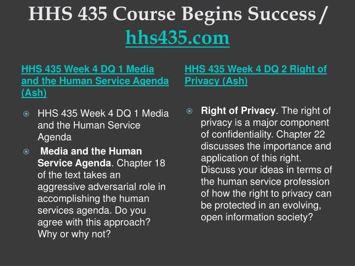 HHS 435 Course Begins Success /