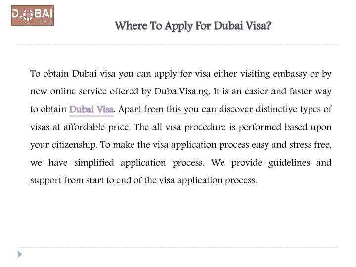 Where To Apply For Dubai Visa?