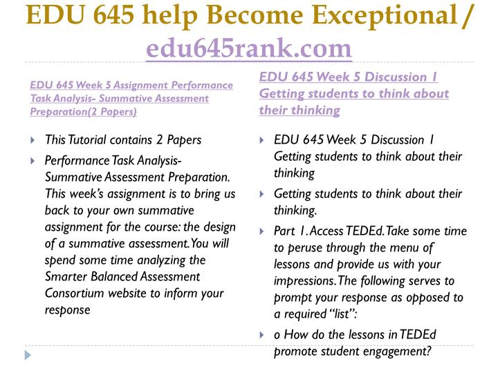 EDU 645 help Become Exceptional