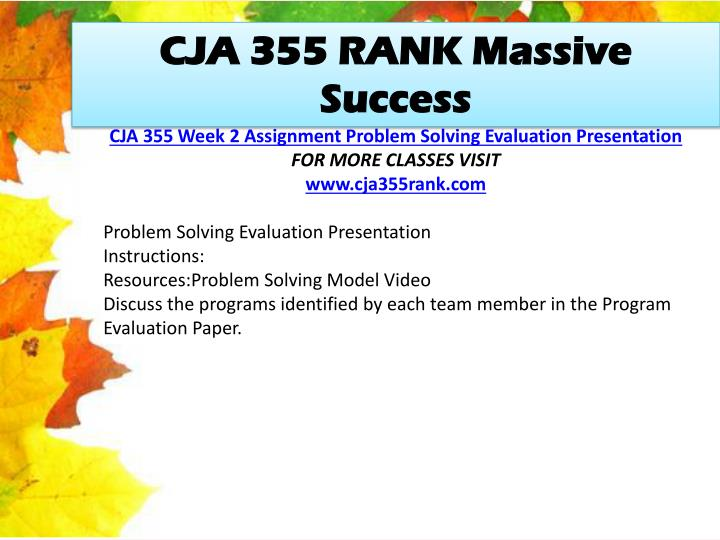 CJA 355 RANK Massive Success