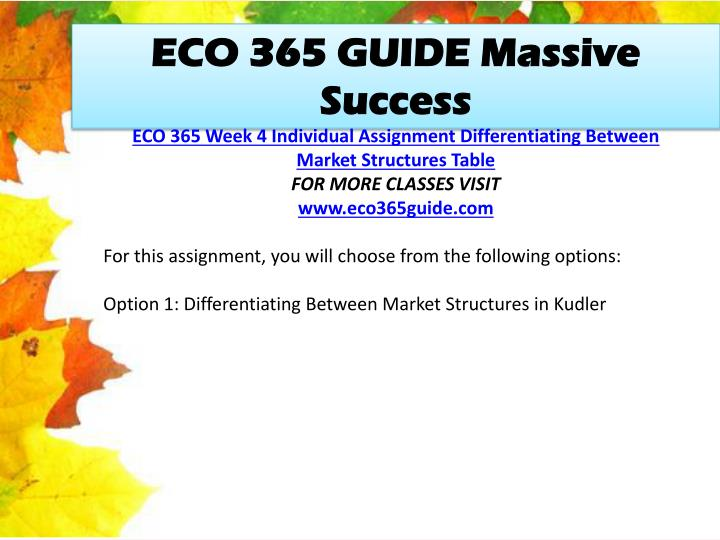 ECO 365 GUIDE Massive Success