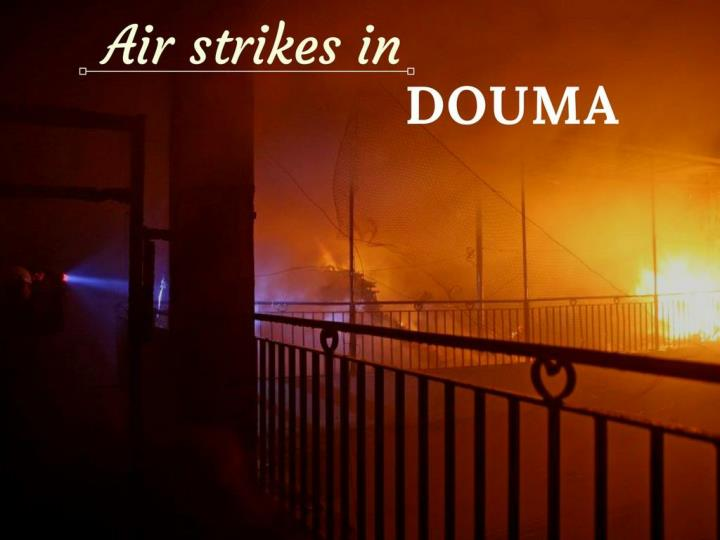 air strikes in douma n.