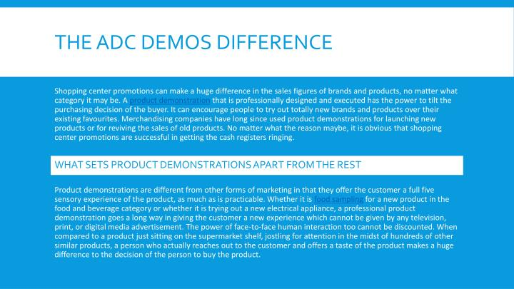 The adc demos difference
