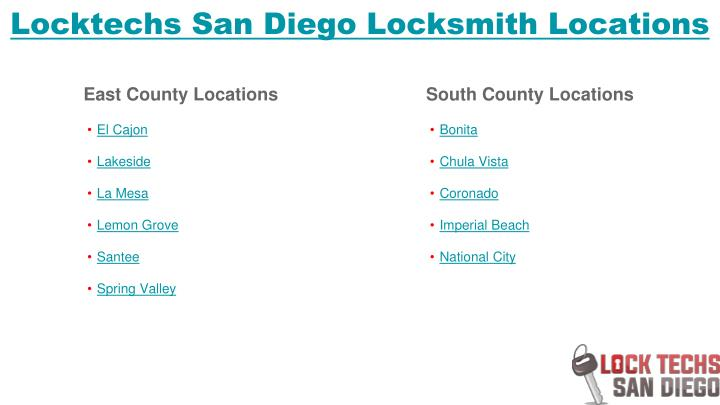 Locktechs San Diego Locksmith Locations