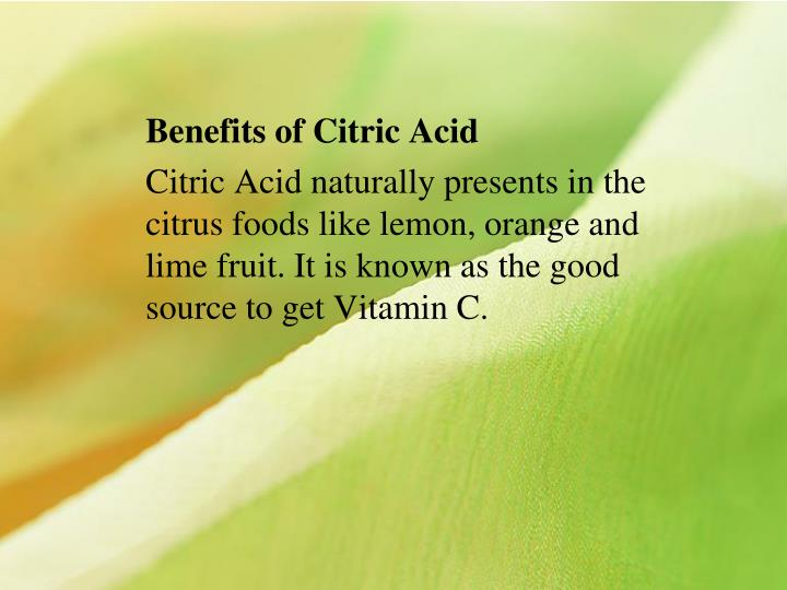 Benefits of Citric Acid