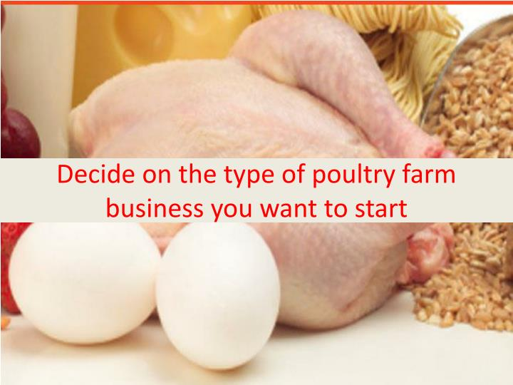 Decide on the type of poultry farm business you want to start