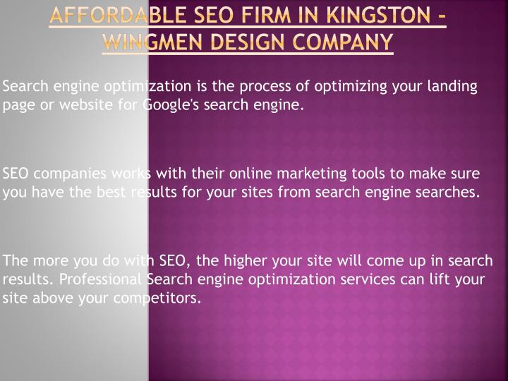 Affordable seo firm in kingston wingmen design company