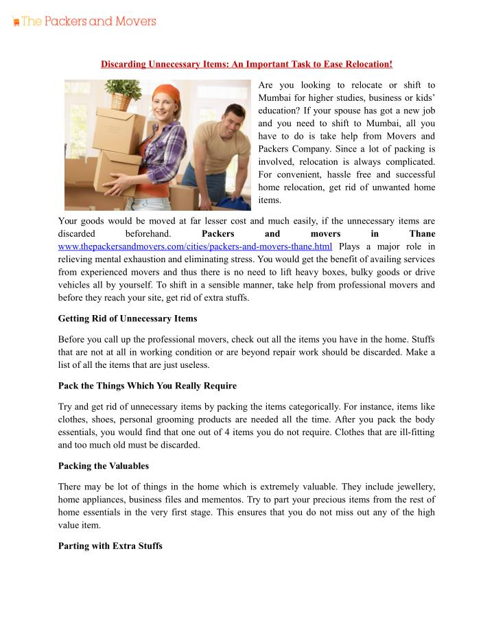Discarding Unnecessary Items: An Important Task to Ease Relocation!