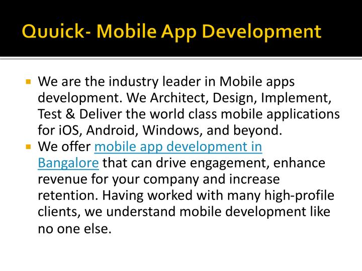 Quuick- Mobile App Development