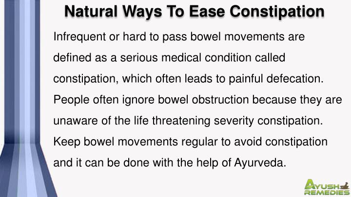 Natural Ways To Ease Constipation