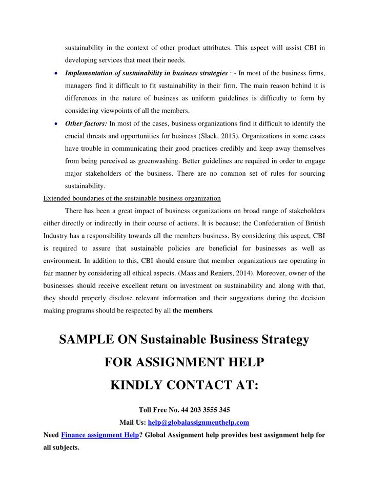 sustainability in the context of other product attributes. This aspect will assist CBI in