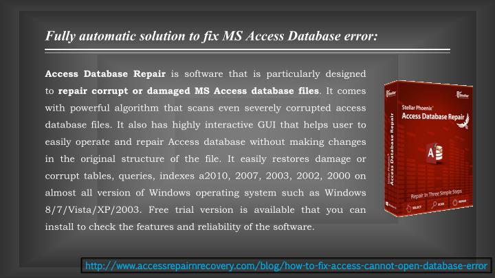 Fully automatic solution to fix MS Access Database error: