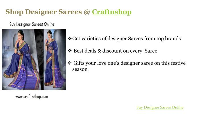 Shop Designer Sarees @ Craftnshop