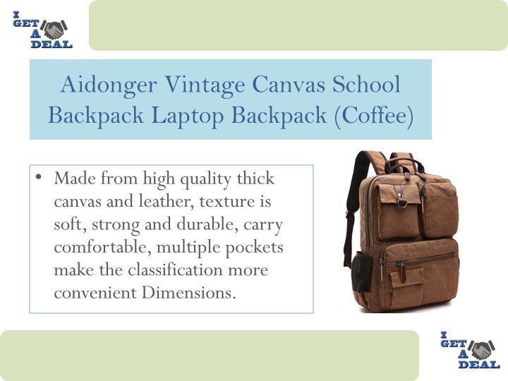 Aidonger vintage canvas school backpack laptop backpack coffee