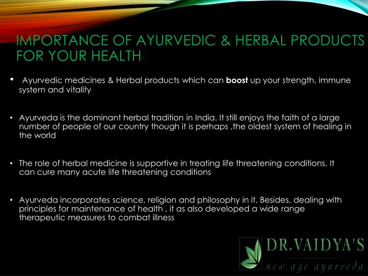 IMPORTANCE OF AYURVEDIC & HERBAL PRODUCTS FOR YOUR HEALTH
