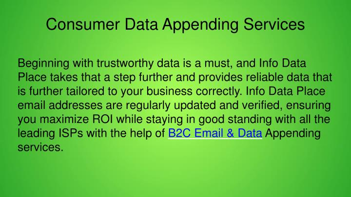 Consumer Data Appending Services