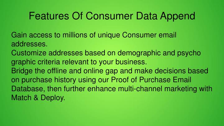 Features Of Consumer Data Append